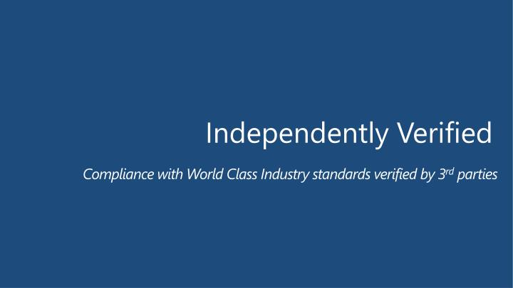 Compliance with World Class Industry standards verified by 3