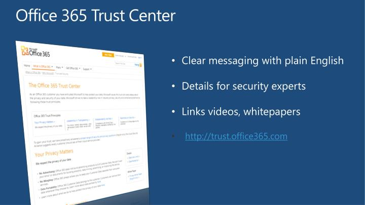 Office 365 Trust Center