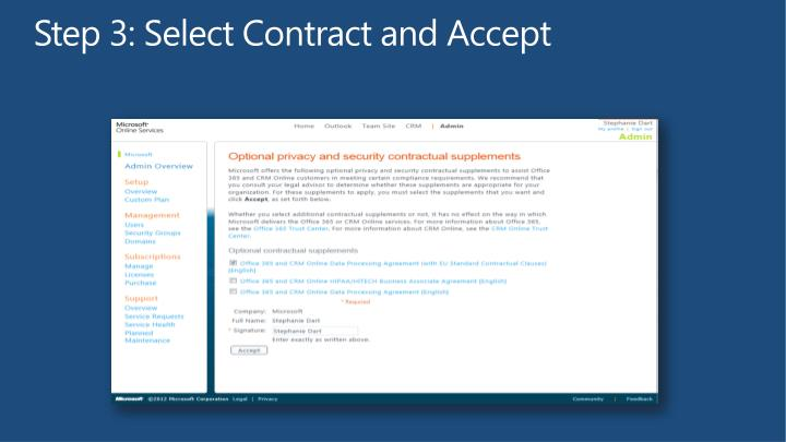 Step 3: Select Contract and Accept