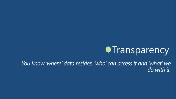 You know 'where' data resides, 'who' can access it and 'what' we do with it.