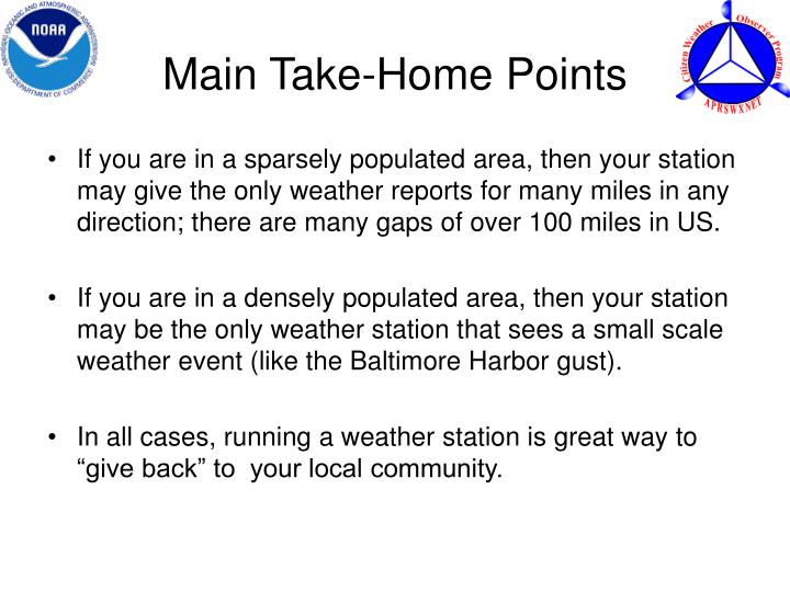 Main Take-Home Points