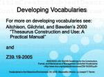 developing vocabularies11
