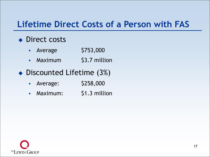 Lifetime Direct Costs of a Person with FAS