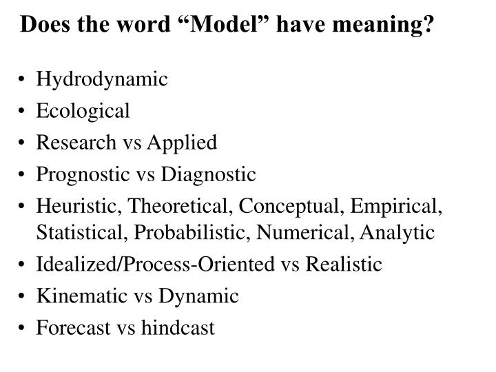 Does the word model have meaning