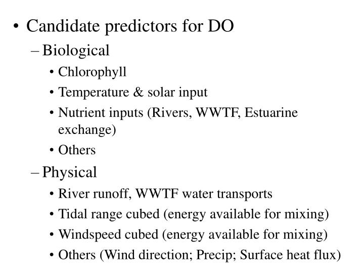 Candidate predictors for DO
