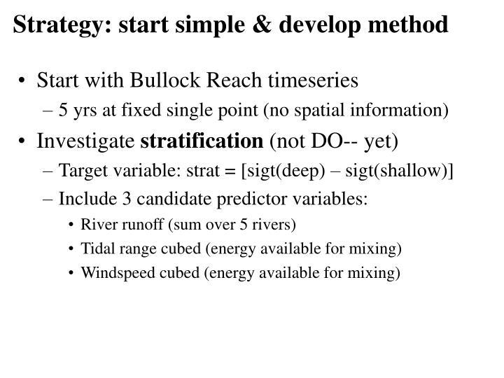 Strategy: start simple & develop method