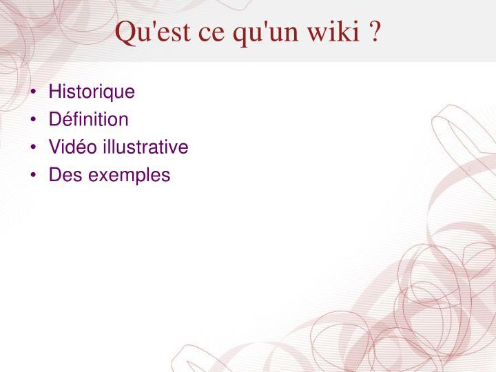 Qu'est ce qu'un wiki ?