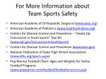 for more information about team sports safety