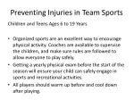 preventing injuries in team sports