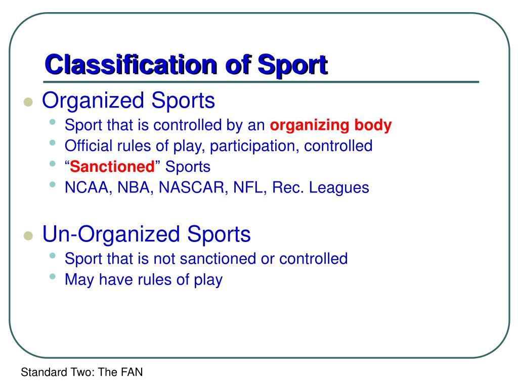 Classification of Sport