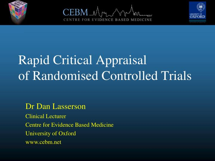 rapid critical appraisal of randomised controlled trials n.