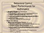behavioral control sport performance for asthmatics