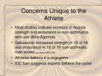 concerns unique to the athlete