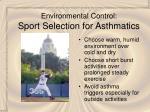 environmental control sport selection for asthmatics
