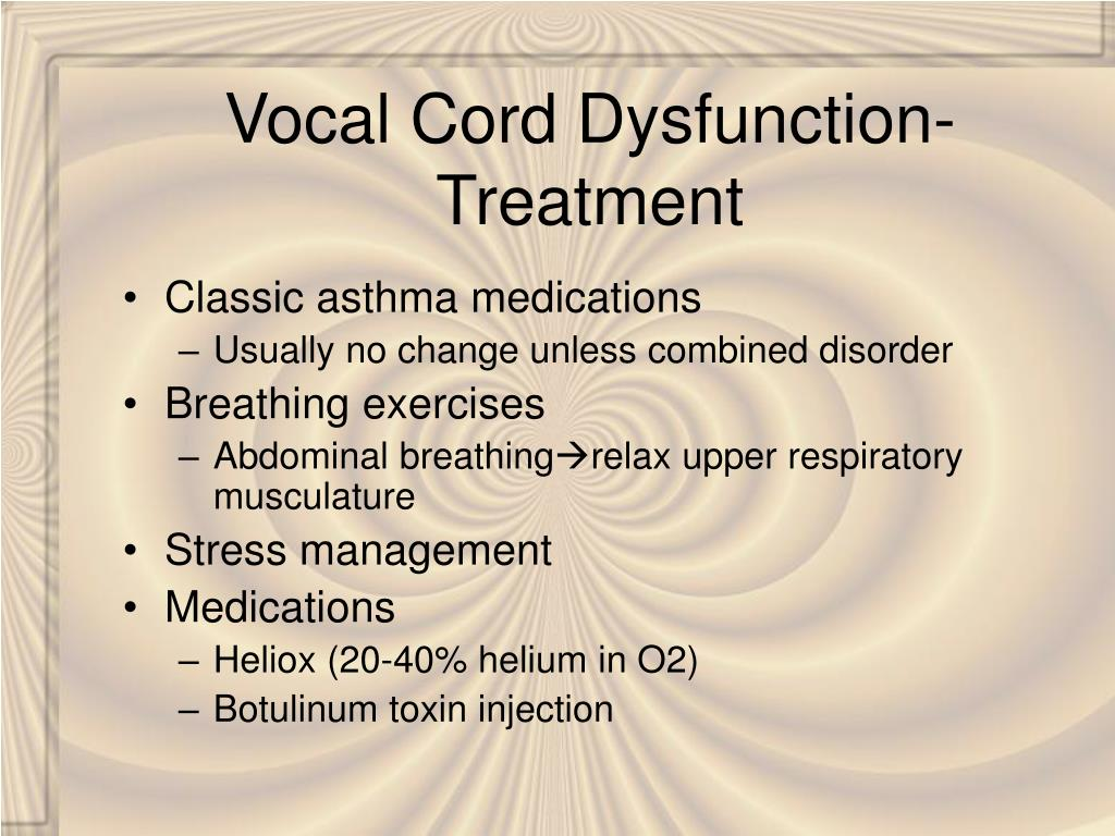Vocal Cord Dysfunction- Treatment