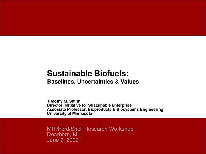 sustainable biofuels baselines uncertainties values n.