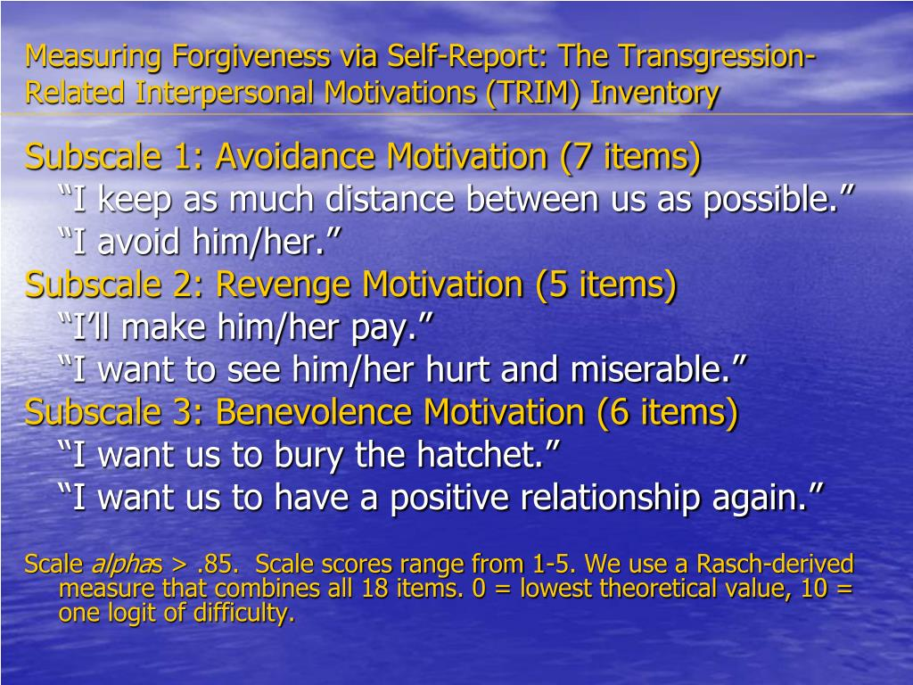 Measuring Forgiveness via Self-Report: The Transgression-Related Interpersonal Motivations (TRIM) Inventory
