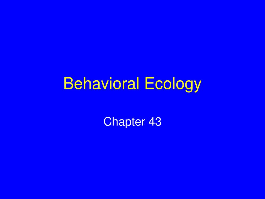 behavioral ecology l.