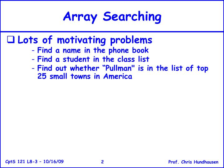 Array searching