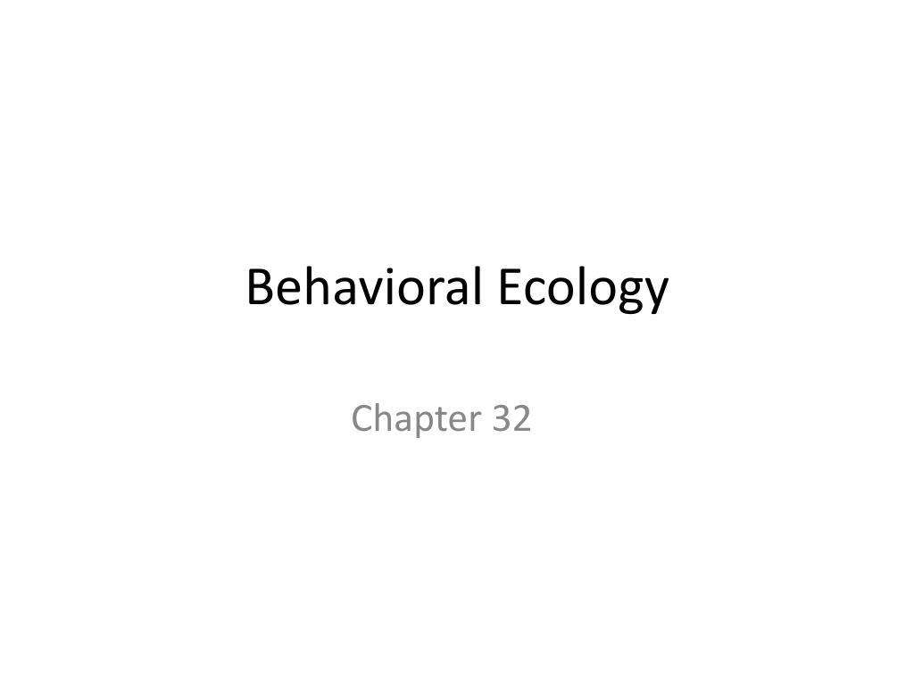 behavioral ecology l.