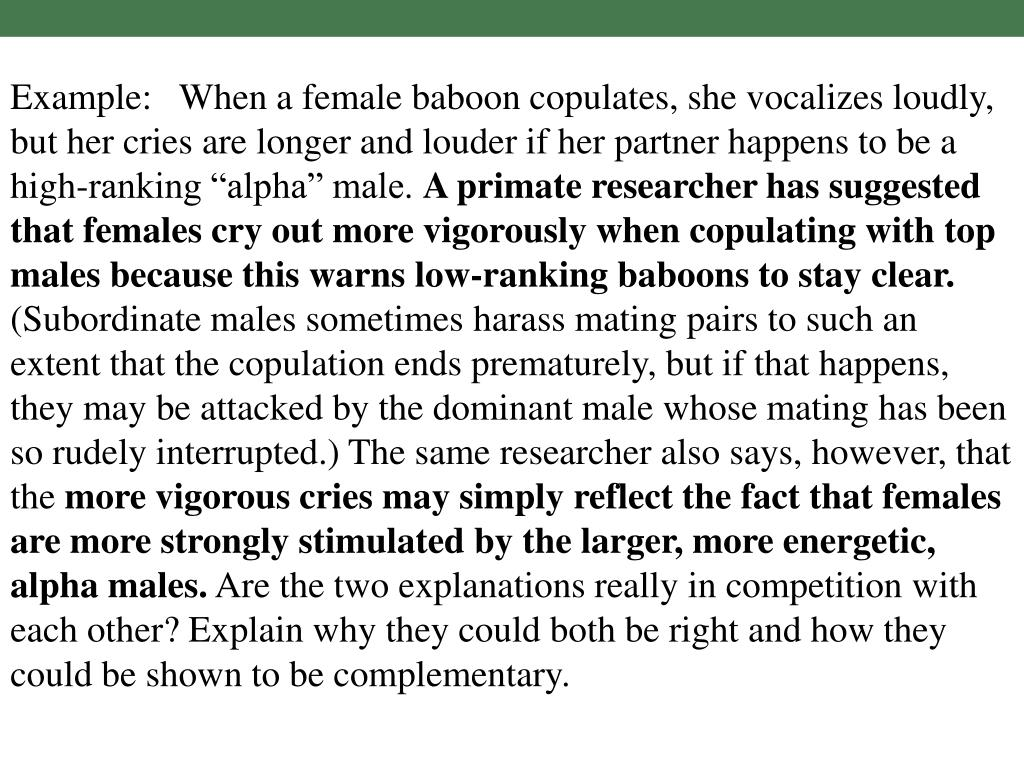 """Example:   When a female baboon copulates, she vocalizes loudly, but her cries are longer and louder if her partner happens to be a high-ranking """"alpha"""" male."""