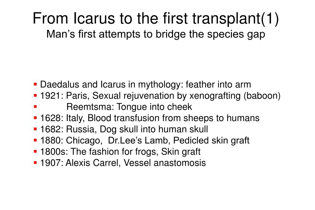 From Icarus to the first transplant(1)