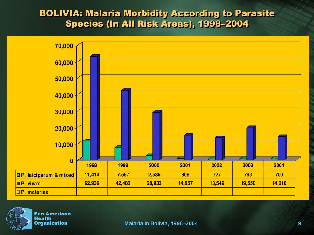 BOLIVIA: Malaria Morbidity According to Parasite Species (In All Risk Areas), 1998–2004