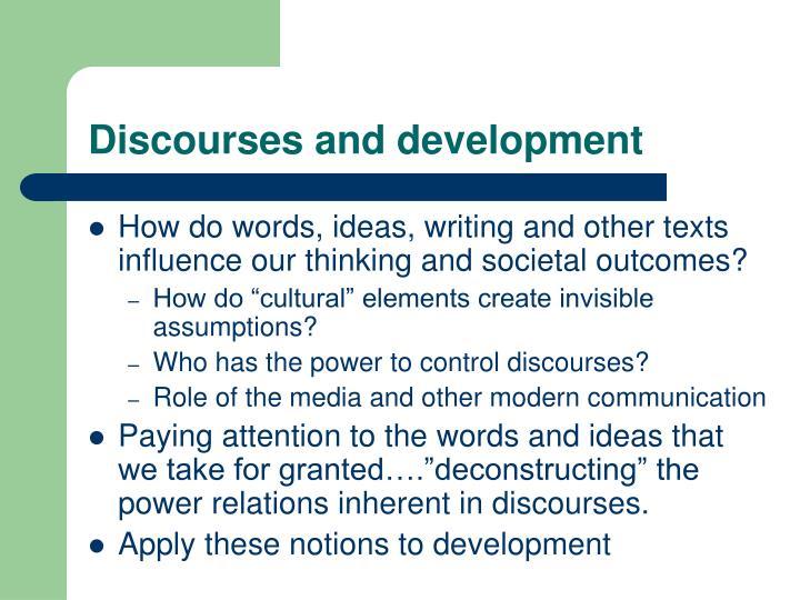Discourses and development