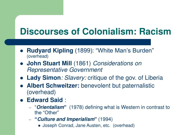 Discourses of Colonialism: Racism