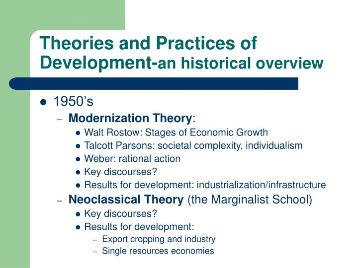 Theories and Practices of Development-