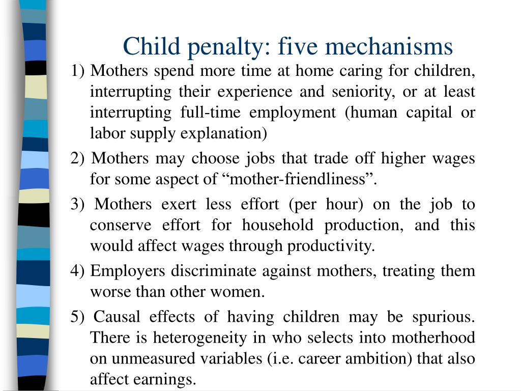 Child penalty: five mechanisms