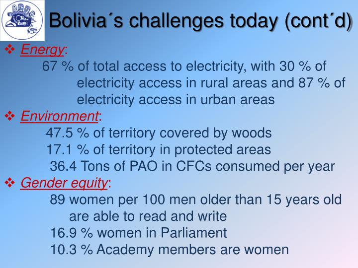 Bolivia´s challenges today (cont´d)