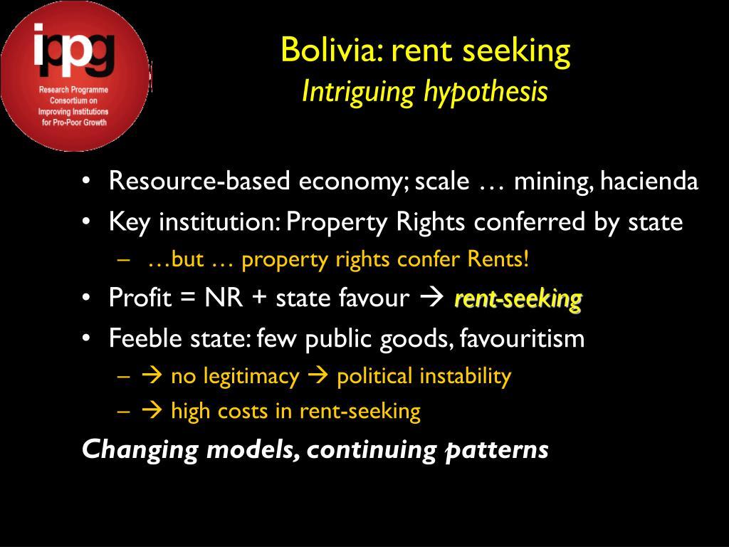 Bolivia: rent seeking