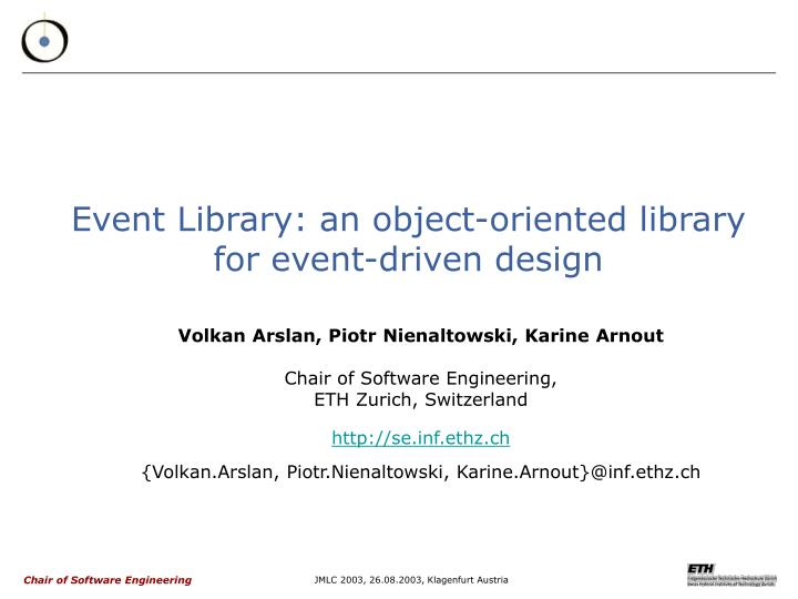 event library an object oriented library for event driven design n.