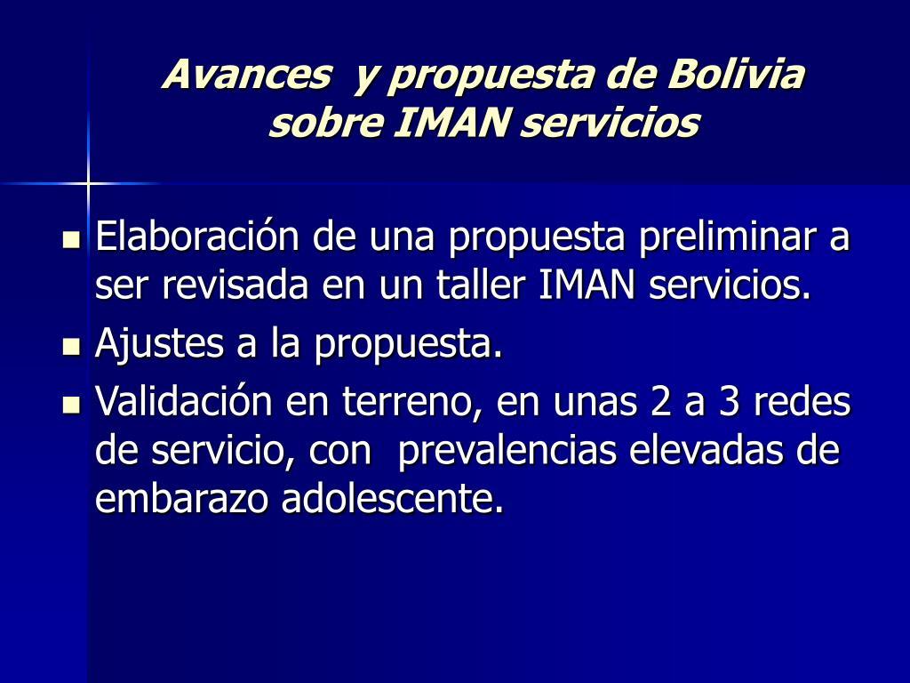 Avances  y propuesta de Bolivia sobre IMAN servicios