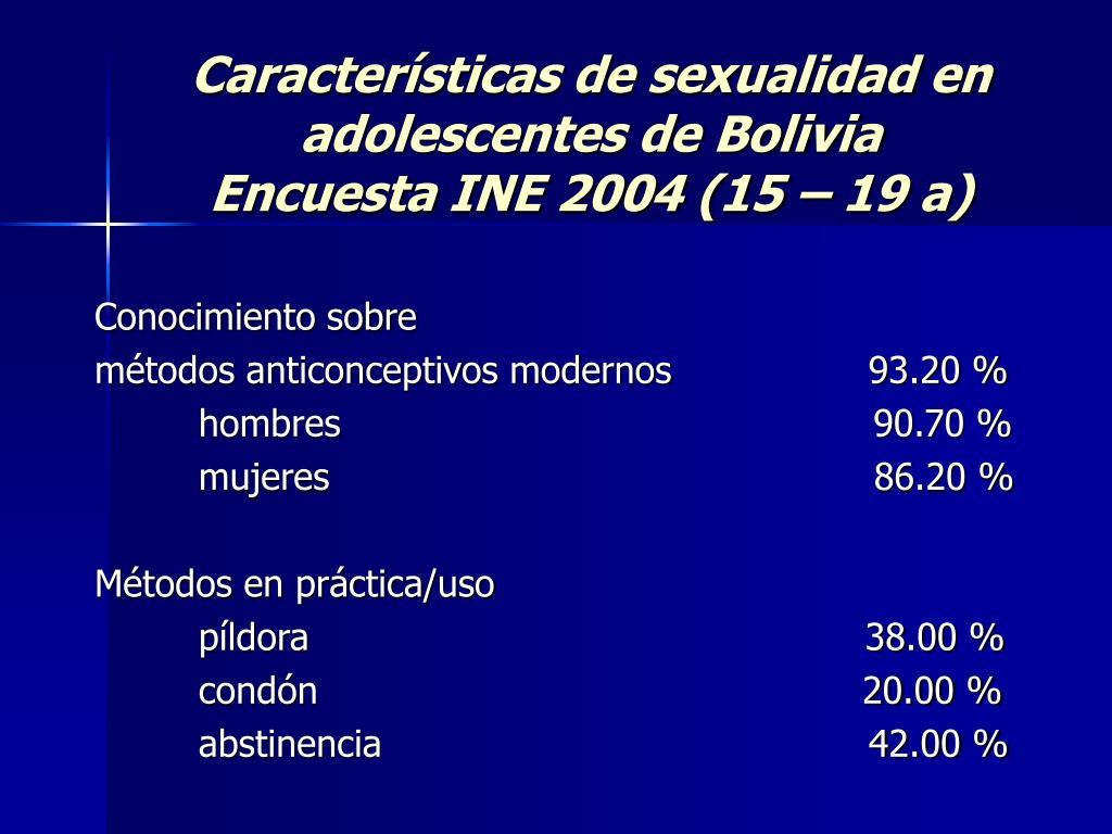 Características de sexualidad en adolescentes de Bolivia