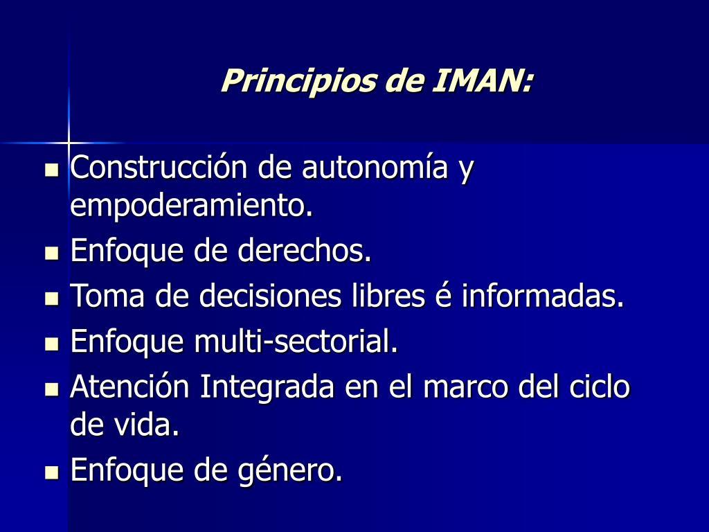 Principios de IMAN: