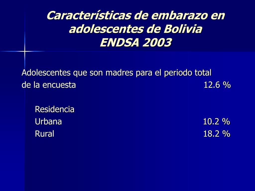 Características de embarazo en adolescentes de Bolivia