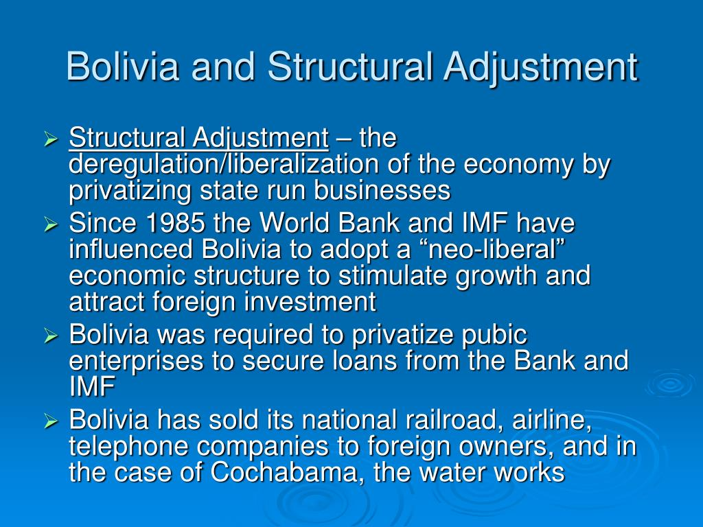 Bolivia and Structural Adjustment