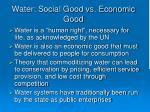 water social good vs economic good