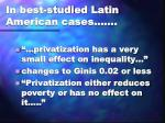 in best studied latin american cases