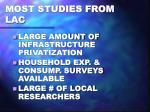 most studies from lac