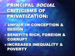 principal social criticisms of privatization