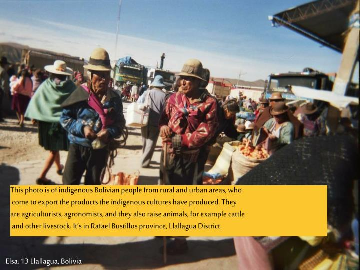 This photo is of indigenous Bolivian people from rural and urban areas, who