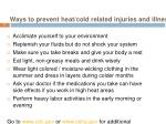 ways to prevent heat cold related injuries and illnesses