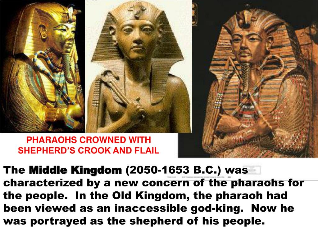 PHARAOHS CROWNED WITH SHEPHERD'S CROOK AND FLAIL