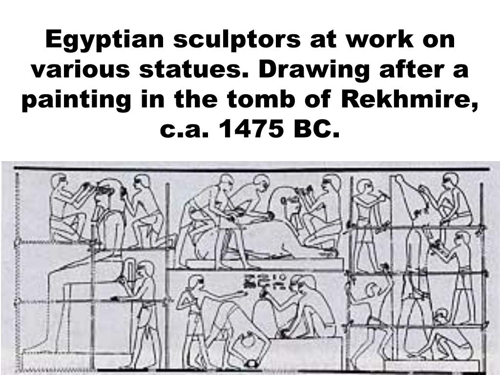Egyptian sculptors at work on various statues. Drawing after a painting in the tomb of Rekhmire, c.a. 1475 BC.