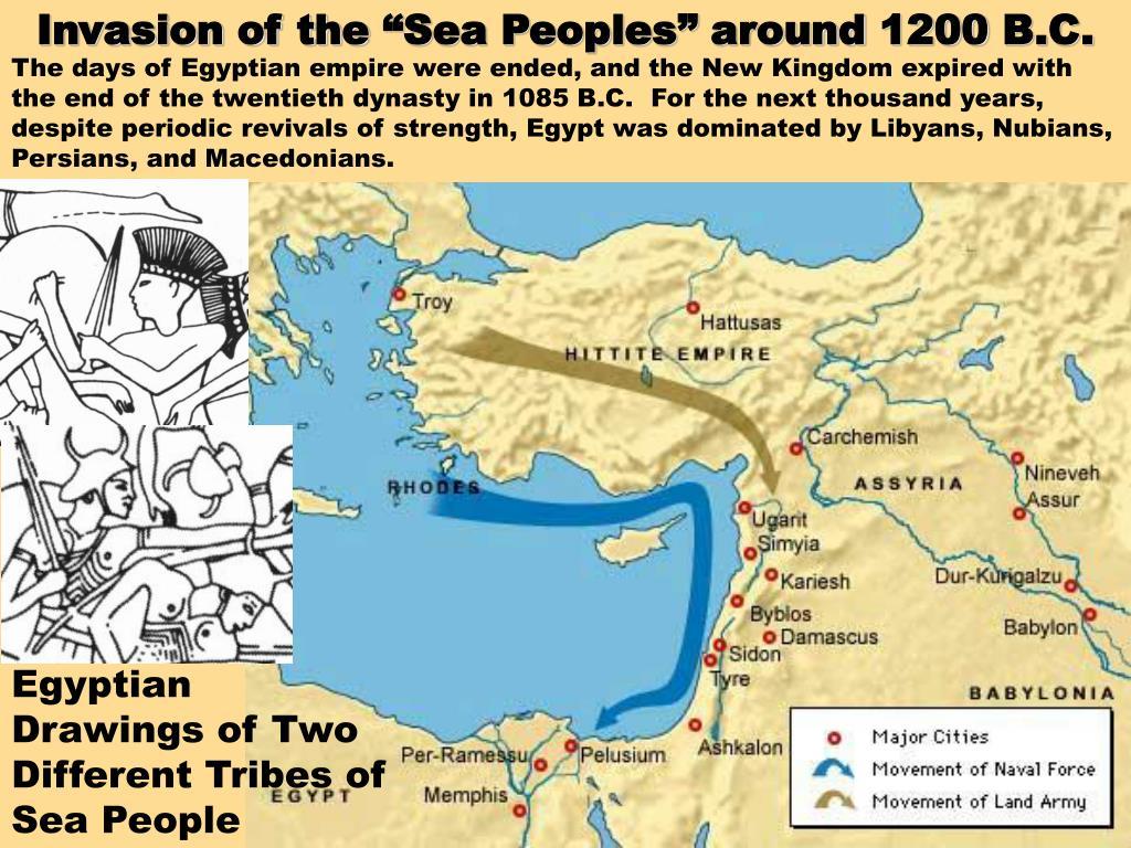 "Invasion of the ""Sea Peoples"" around 1200 B.C."