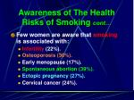 awareness of the health risks of smoking cont