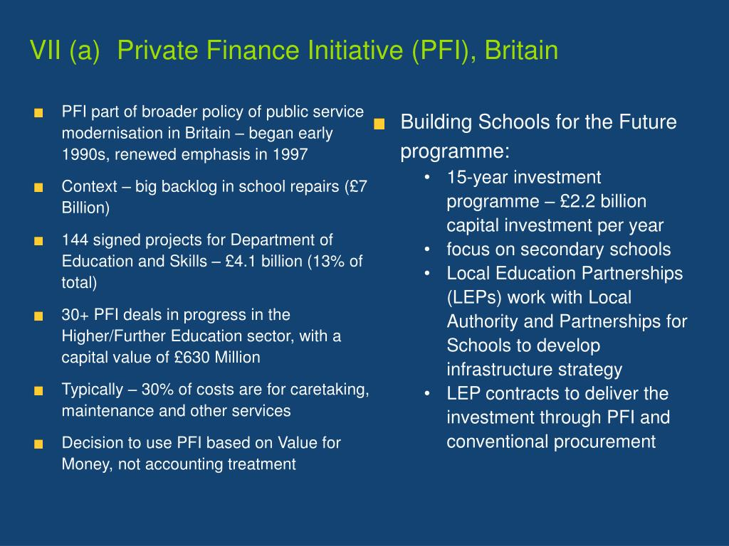 VII (a)	  Private Finance Initiative (PFI), Britain